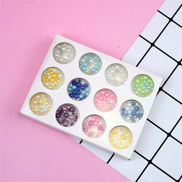 12 Holes Slime Soft Pottery Fruit Slice Pearl Sequin Sprinkles Filler Children Toys Modeling Clay DIY Accessories Nail Art Tips