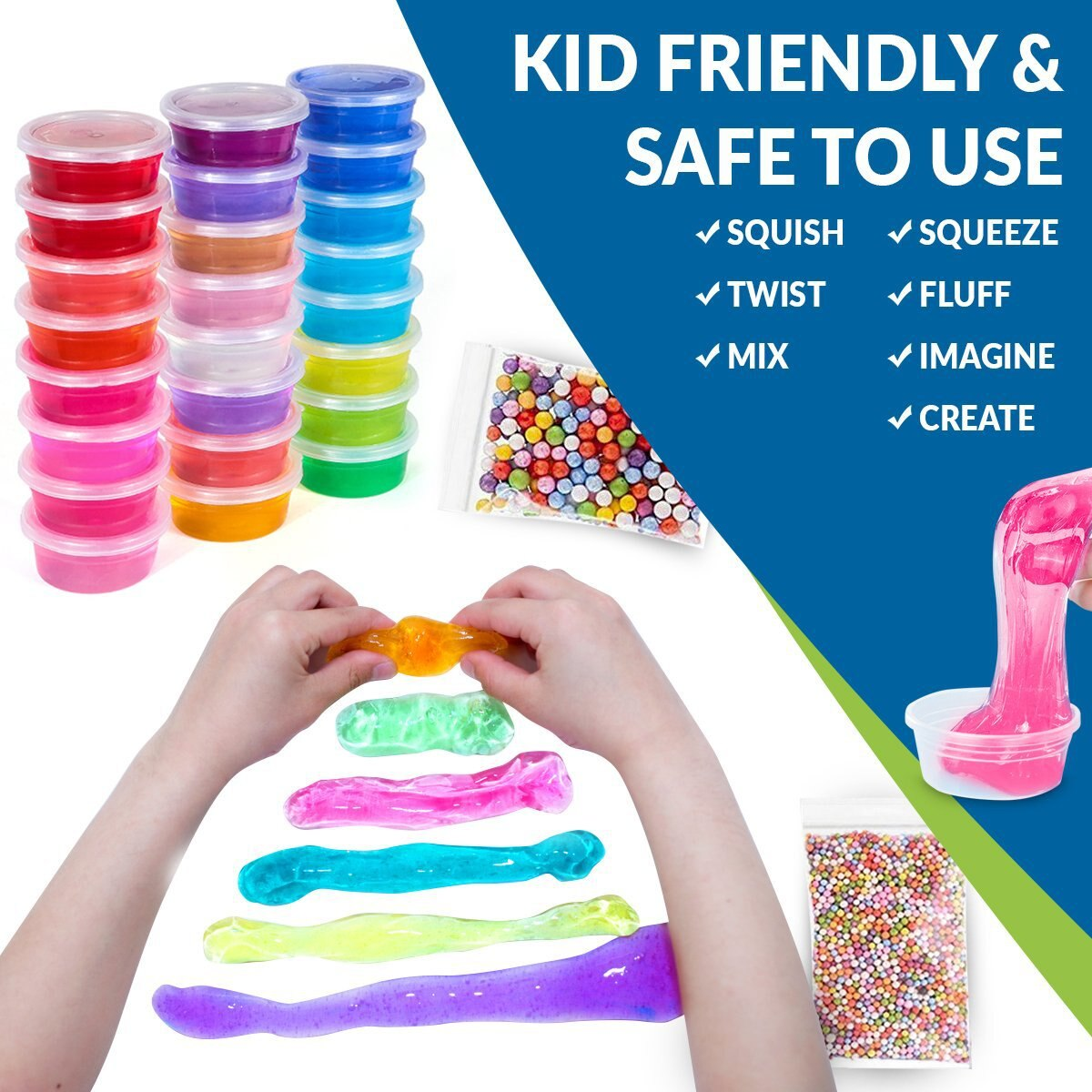 52Pack/Lot Fluffy Slime Kit 24 Color Slime Supplies Gifts for kids DIY Kit Sensory Play Stress Relief Toy Stretchy Soft for Kids
