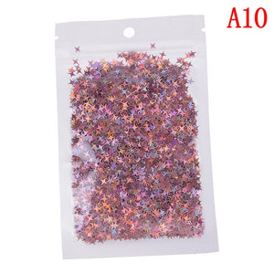 10g Four Star Glitter Diy Crystal Slime Supplies Ultra-thin Slices Nails Art Tips Box Accessories Decoration Toys For Kids Model