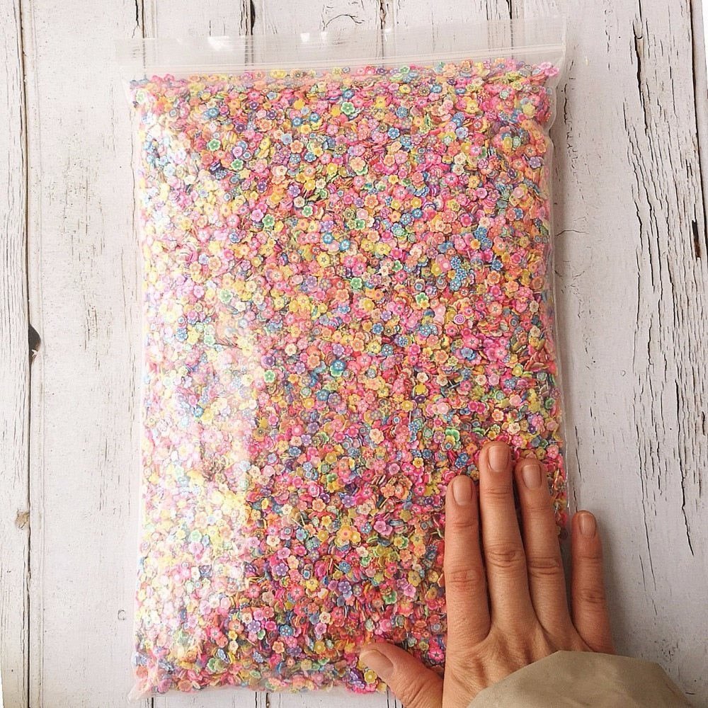 1KG 100000PCS Slime DIY Accessories Toys Mini Strawberry Fruit Slices Fluffy Clear Slime Supplies Gift Toy