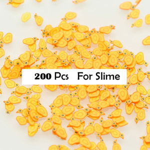 200Pcs Polymer Clay Fruit Slices Slime Additives Lizun Soft Pottery Charms For Slime Supplies Filler Nail Art Beauty Decor Toys