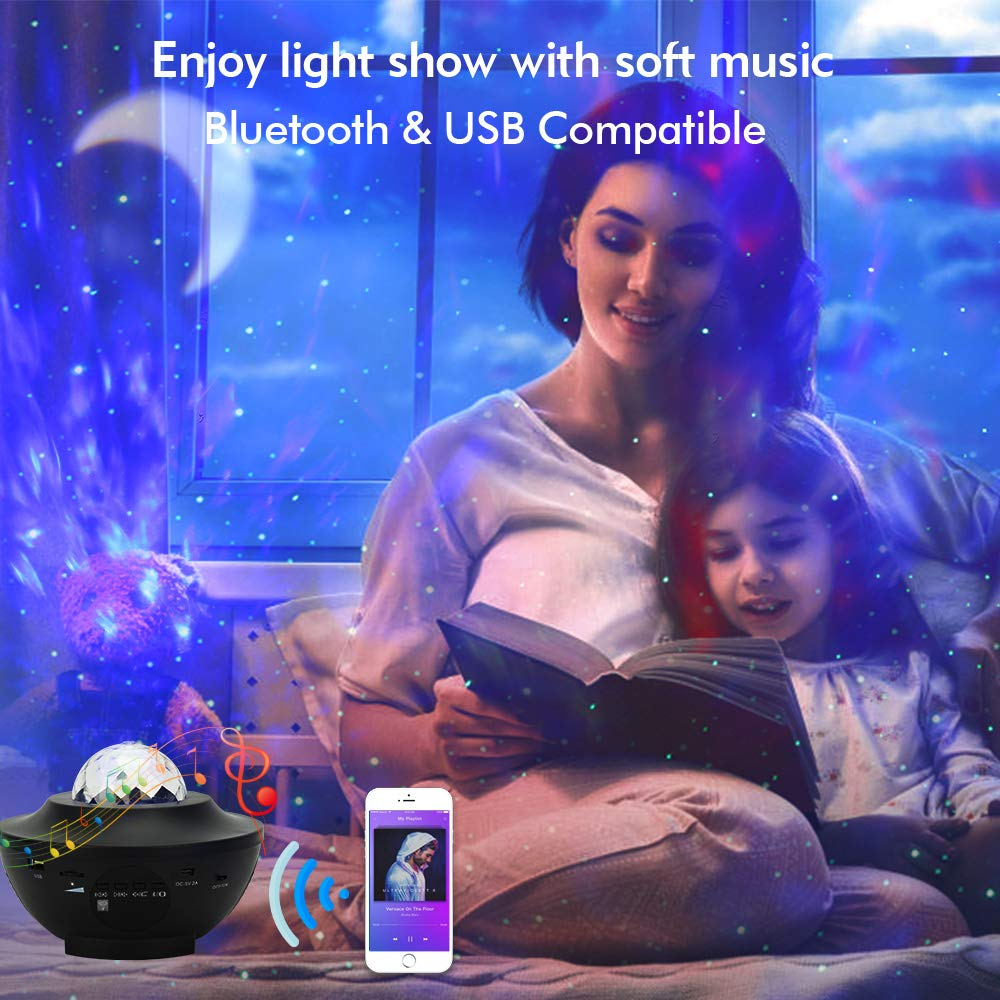 Colorful Starry Projector Light Sky Galaxy Bluetooth USB Voice Control Music Player StarLED Night Light Romantic Projection Lamp