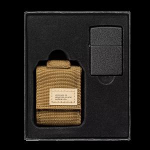 Zippo Coyote Pouch and Black Crackle®, Lighter Gift Set (49401)