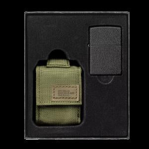Zippo OD Green Pouch and Black Crackle®, Lighter Gift Set (49400)