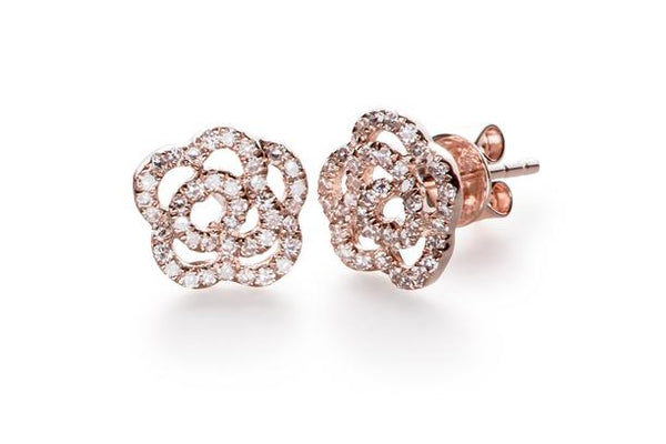 Diamond Rose Stud Earrings, Rose Gold