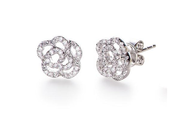 Diamond Rose Stud Earrings, White Gold