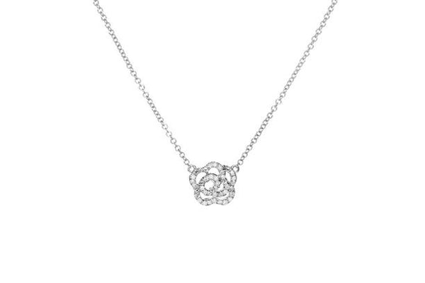 Diamond Rose Necklace, White Gold