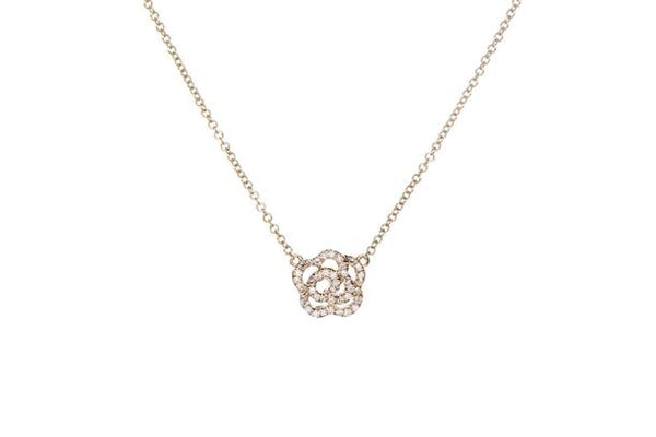 Diamond Rose Necklace, Yellow Gold