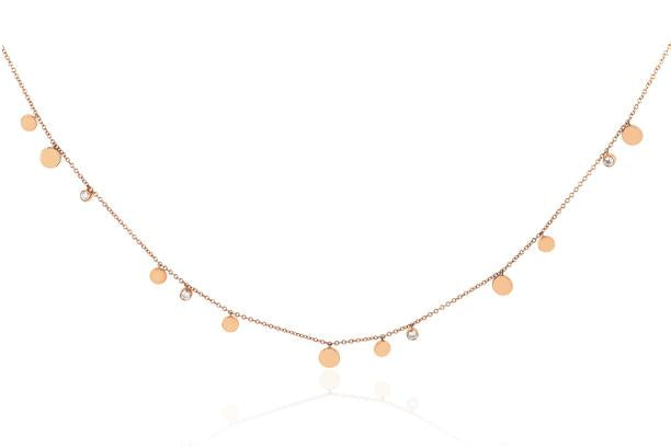 Gold and Diamond Confetti Necklace, Rose Gold