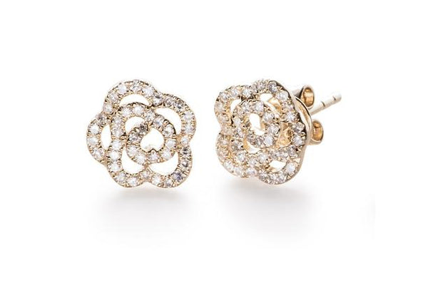 Diamond Rose Stud Earrings, Yellow Gold