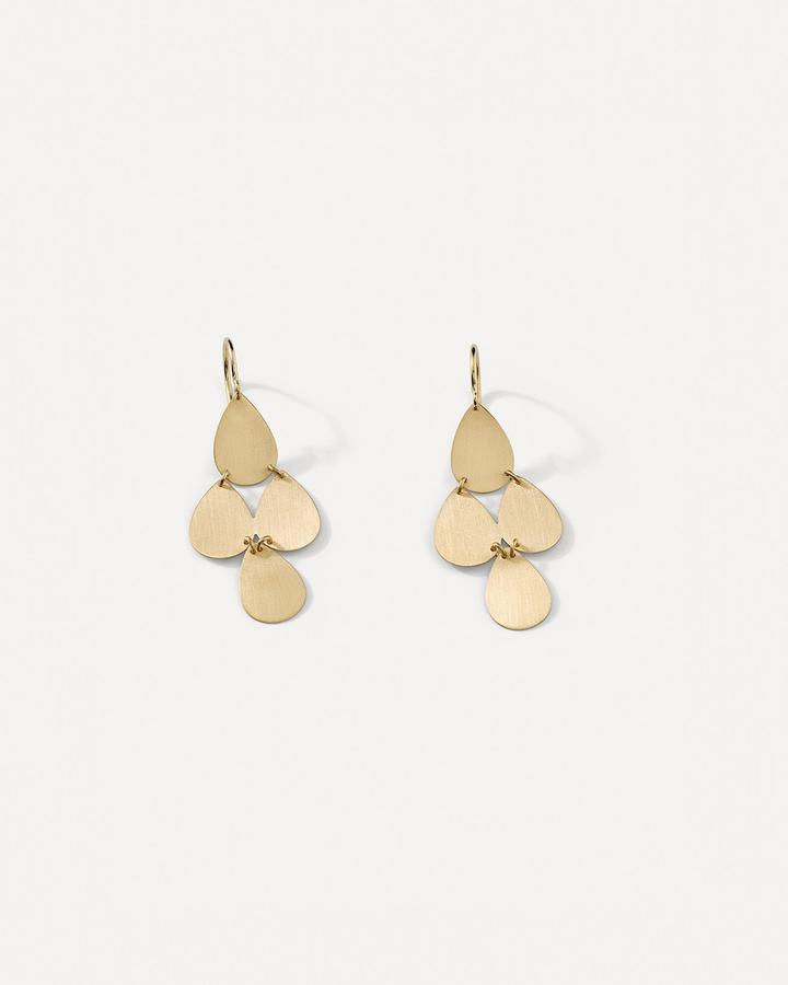 Flat Gold Four Drop Earrings