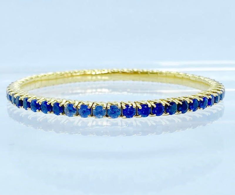 Blue Shaded Sapphire Bracelet, Yellow Gold