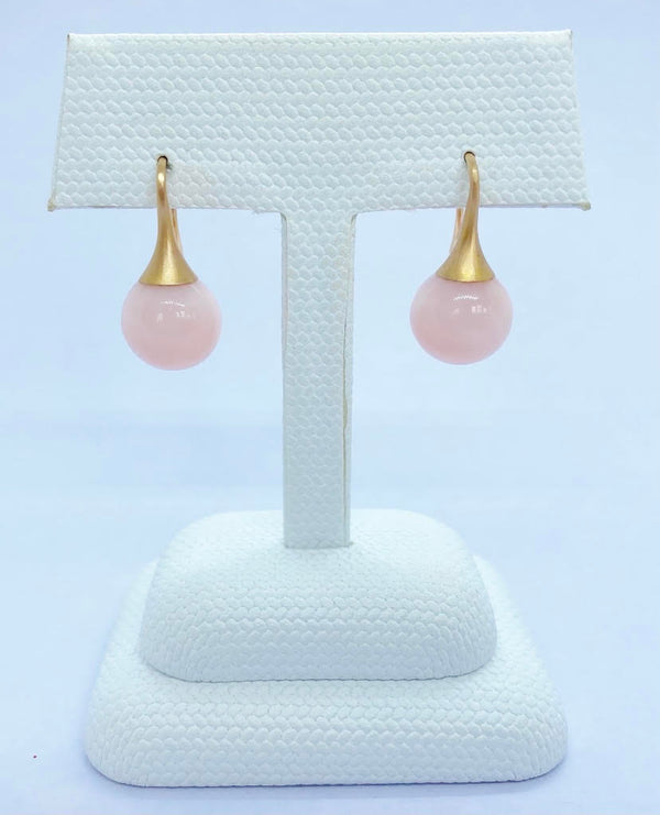 Gumdrop Earrings, Pink Opal