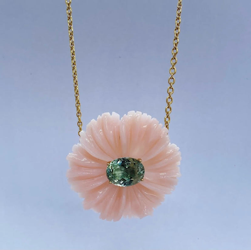 Botanical Tropical Flower One of a Kind Necklace