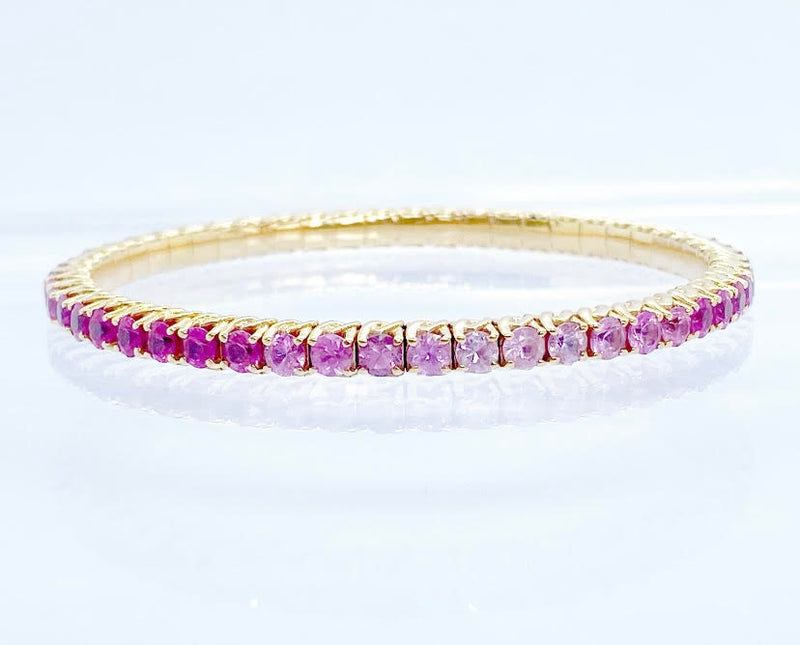 Pink Shaded Sapphire Bracelet, Rose Gold