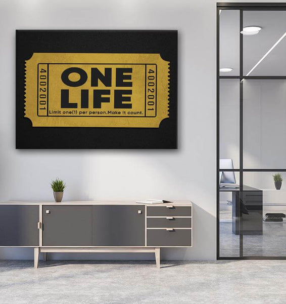 one life gold motivation canvas