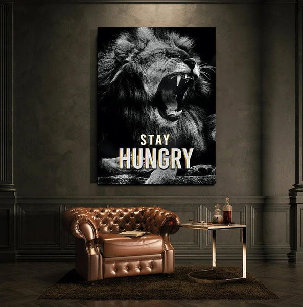 Stay Hungry lion canvas