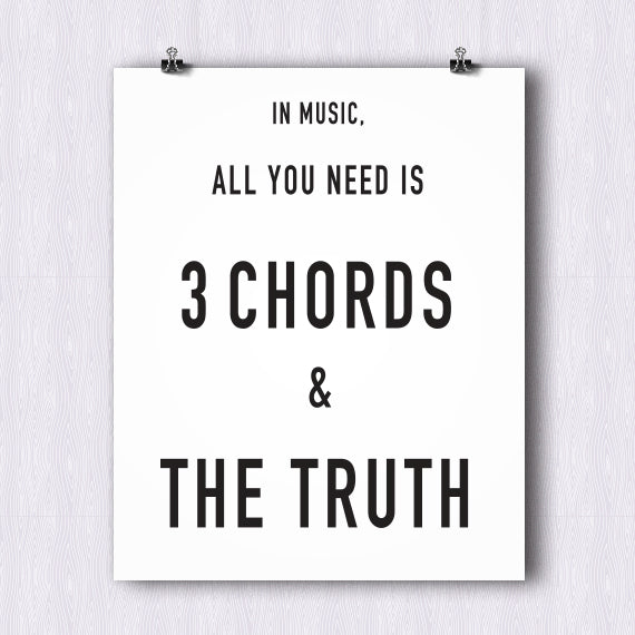 Three Chords and Truth Poster – Printable Download PDF & JPEG