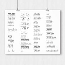 Load image into Gallery viewer, 40 Rudiments of Drum Poster - Printable Download PDF & JPEG