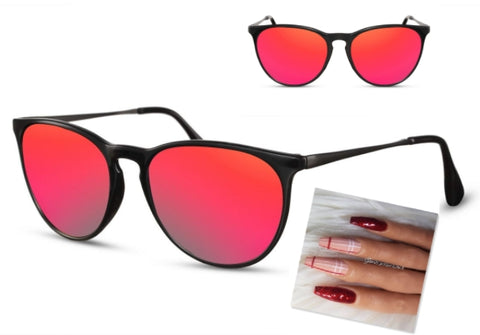 red sunglasses red nail art