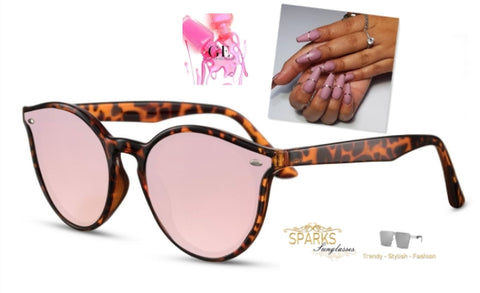 turtle shell sunglasses and press on nails