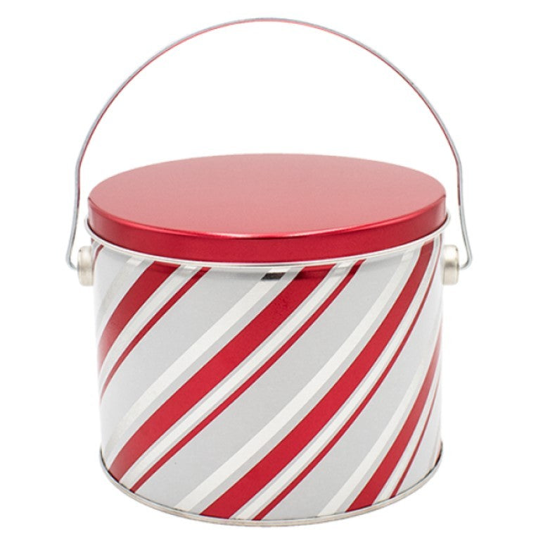 Peppermint Candy Stripe Half Gallon Popcorn TIn