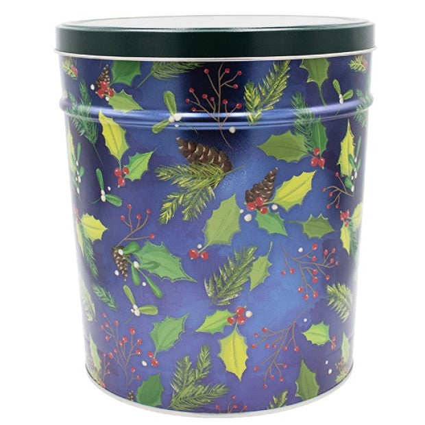 Gourmet Popcorn Tin Can Blue Holly & Pine