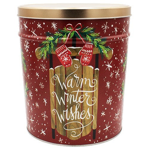 6.5 Gal Warm Winter Wishes Christmas Popcorn Tin