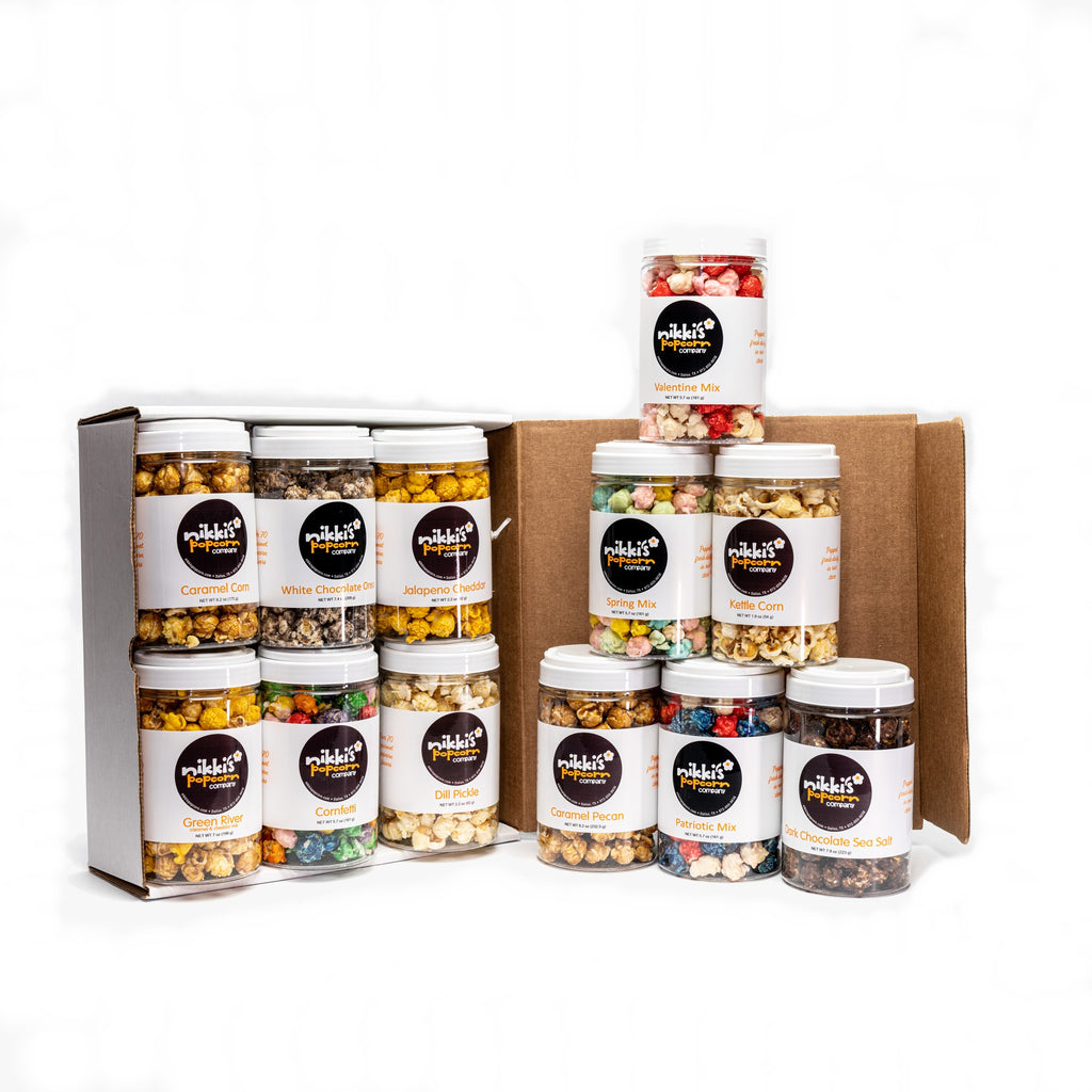 6 Pack Gourmet Popcorn Sampler Jar  Gift Box