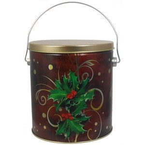 1 Gal Boughs of Holly Popcorn Gift Tin - Nikki's Popcorn Company Dallas, TX