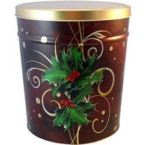 3.5 Gal Holly Gourmet Popcorn Tin