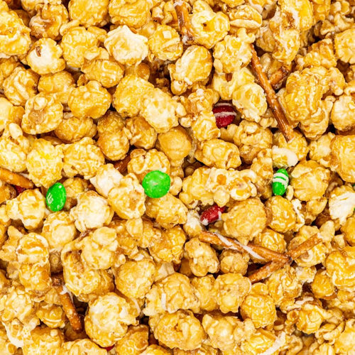 Christmas Crunch Holiday Popcorn with M&Ms & Pretzels
