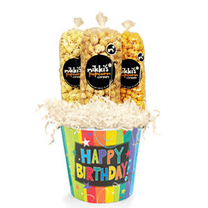 Happy Birthday Popcorn Gift Pail - Nikki's Popcorn Company Dallas, TX