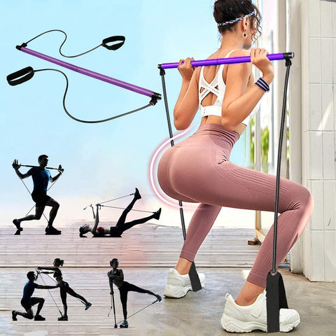 PLEASION - Yoga/Pilates Home Gym Exercise Resistance Band - Total Body Workout.