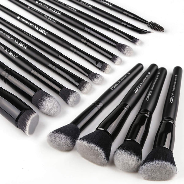 Makeup Brush Set - 15Pcs (15 Count Black)