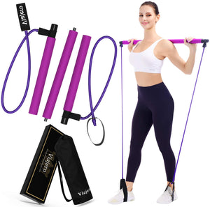 Pilates Bar Kit for Portable Home Gym with E-Book & Video