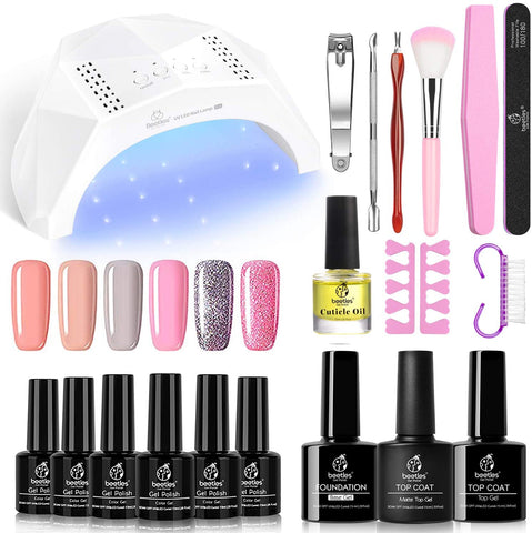 Beetles Starter Kit - Gel Nail Polish Kit with U V Light 48W LED