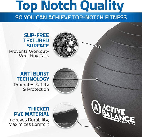 Active Balance Exercise Ball with Resistance Bands & Hand Pump