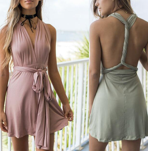 Sleeveless Back Sling Halter Neck Dress