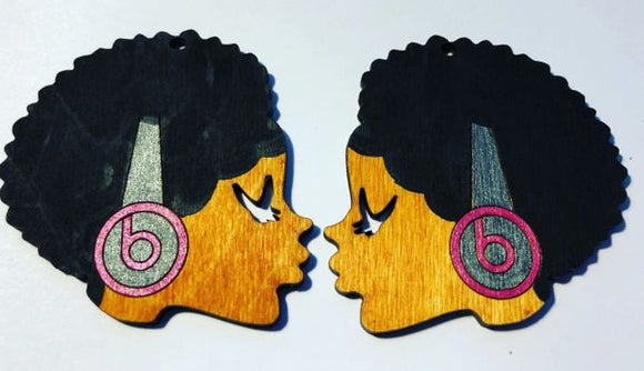 Earrings - Sister Afro Beats (Pink/Gray)