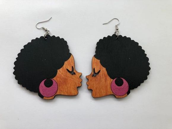 Earrings - Sister Afro (Pink)