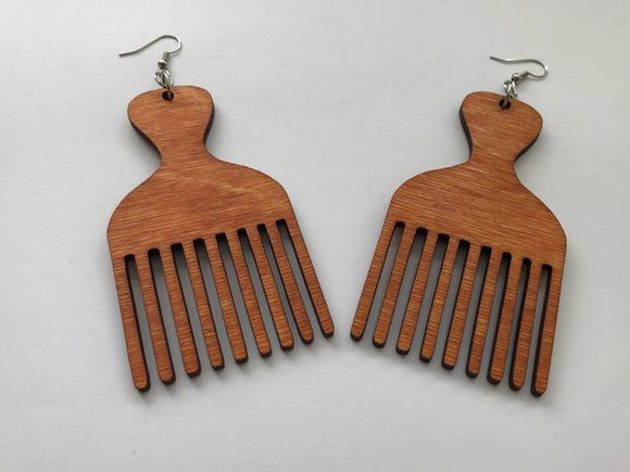 Earrings - Afro Pick (Natural Wood)