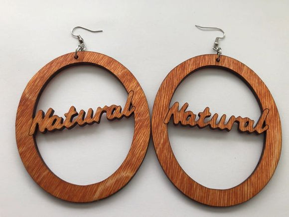 Earrings - Natural in Oval (Natural Wood)