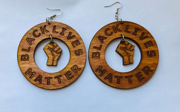 Earrings - BLACK LIVES MATTER with Fist