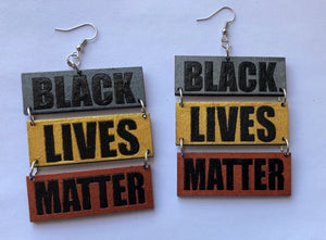 Earrings - 3 Panel BLACK LIVES MATTER (SGC)