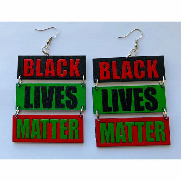 Earrings - 3 Panel BLACK LIVES MATTER (RBG)