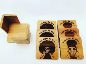 """This Might Be Wine"" 6pc Bamboo Coasters"