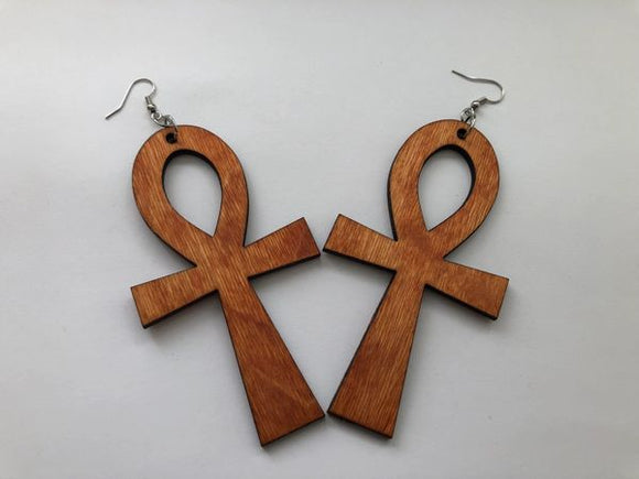 Earrings - Ankh (Natural Wood)
