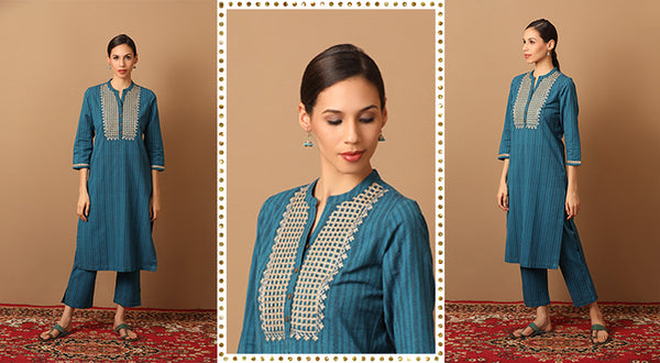 Embroidered Striped Kurta Set in Teal Blue