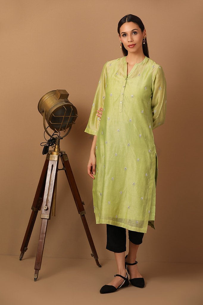 Chartreuse Green Kurta With Intricate Thread work - Barara Official